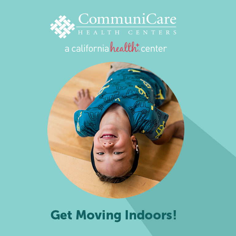 a green image with a boy in the middle that says get moving indoors